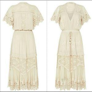 Maggie Embroidered MIDI Dress - Off White